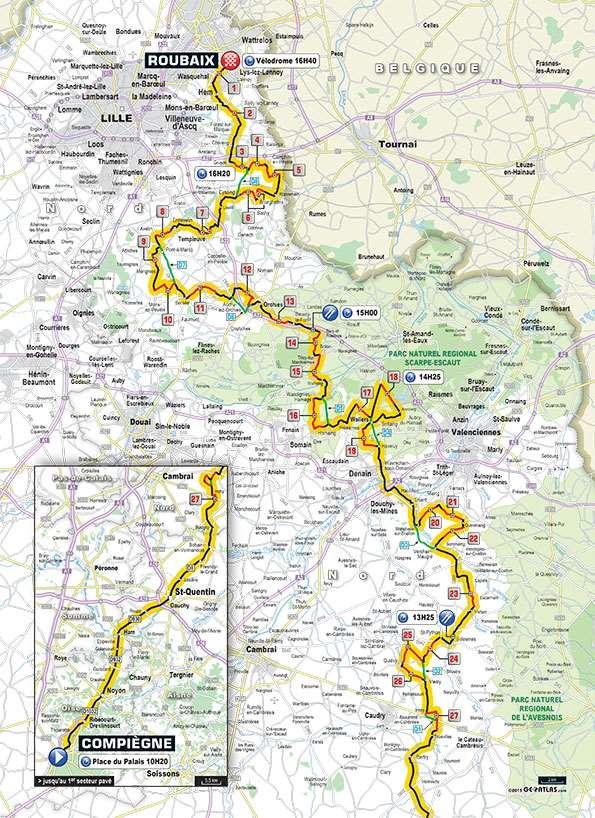 Trasa Paris - Roubaix 2015.